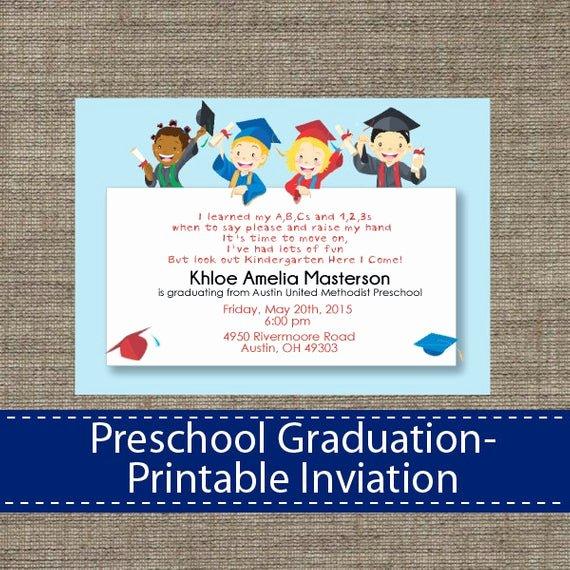 Preschool Graduation Programs Template Inspirational Preschool Graduation Invitation Diy Printable