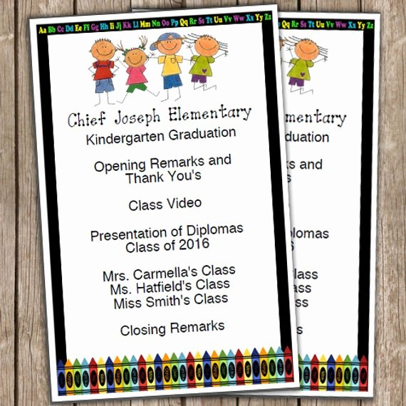 Preschool Graduation Programs Template Luxury Kindergarten Graduation Half Sheet Blank Editable Program