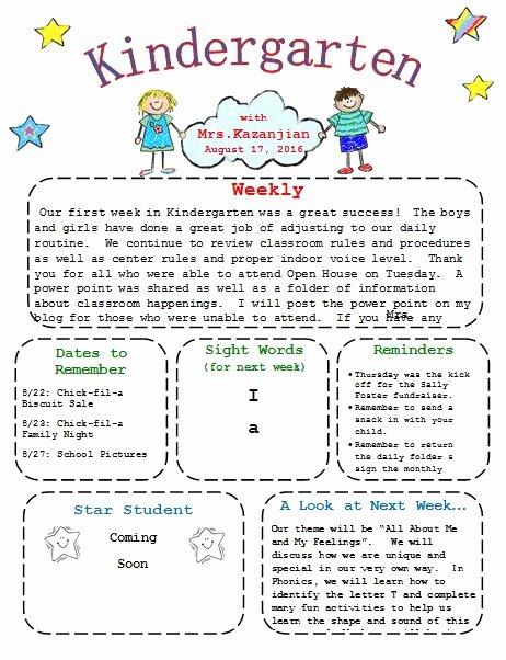 Preschool Newsletter Template Free Beautiful Printable Kindergarten Newsletter Template