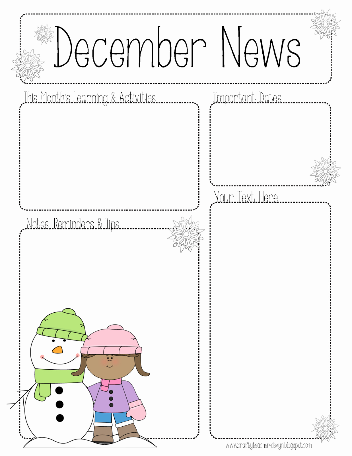 Preschool Newsletter Template Free Beautiful the Crafty Teacher December Newsletter for All Grades