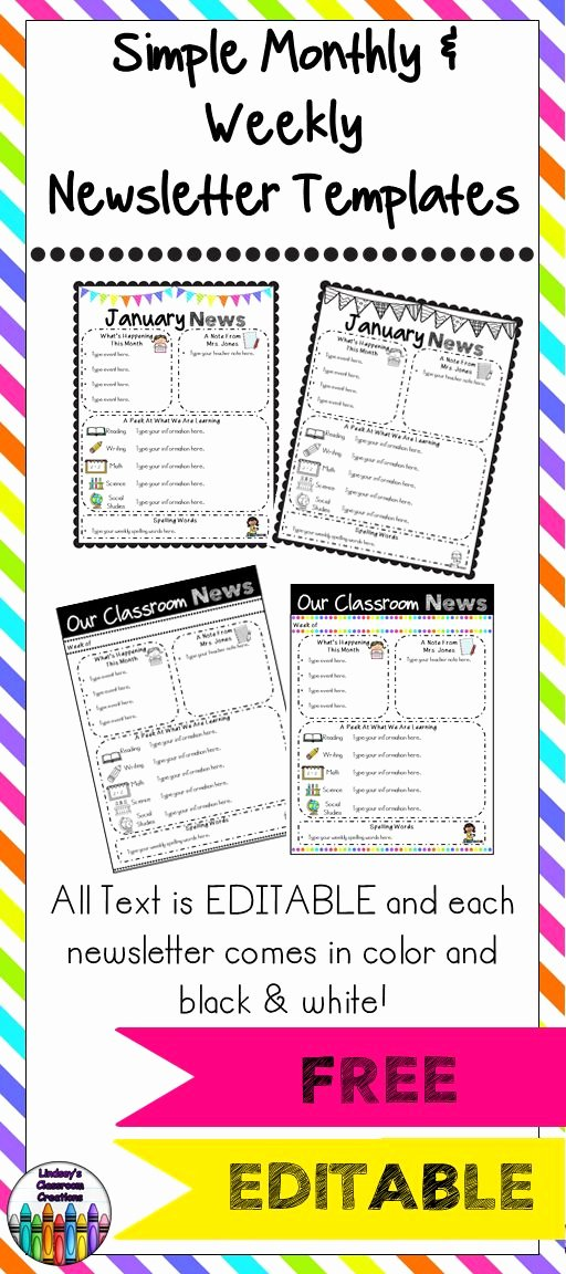 Preschool Newsletter Template Free Best Of Editable Classroom Newsletter Templates Color & Black