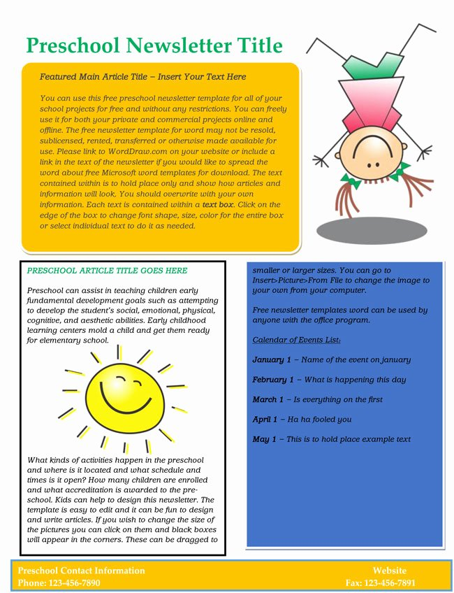 Preschool Newsletter Template Free Inspirational 16 Preschool Newsletter Templates Easily Editable and