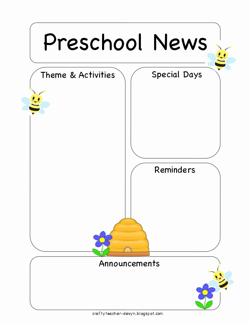 Preschool Newsletter Template Free Unique Preschool Bee Newsletter Template