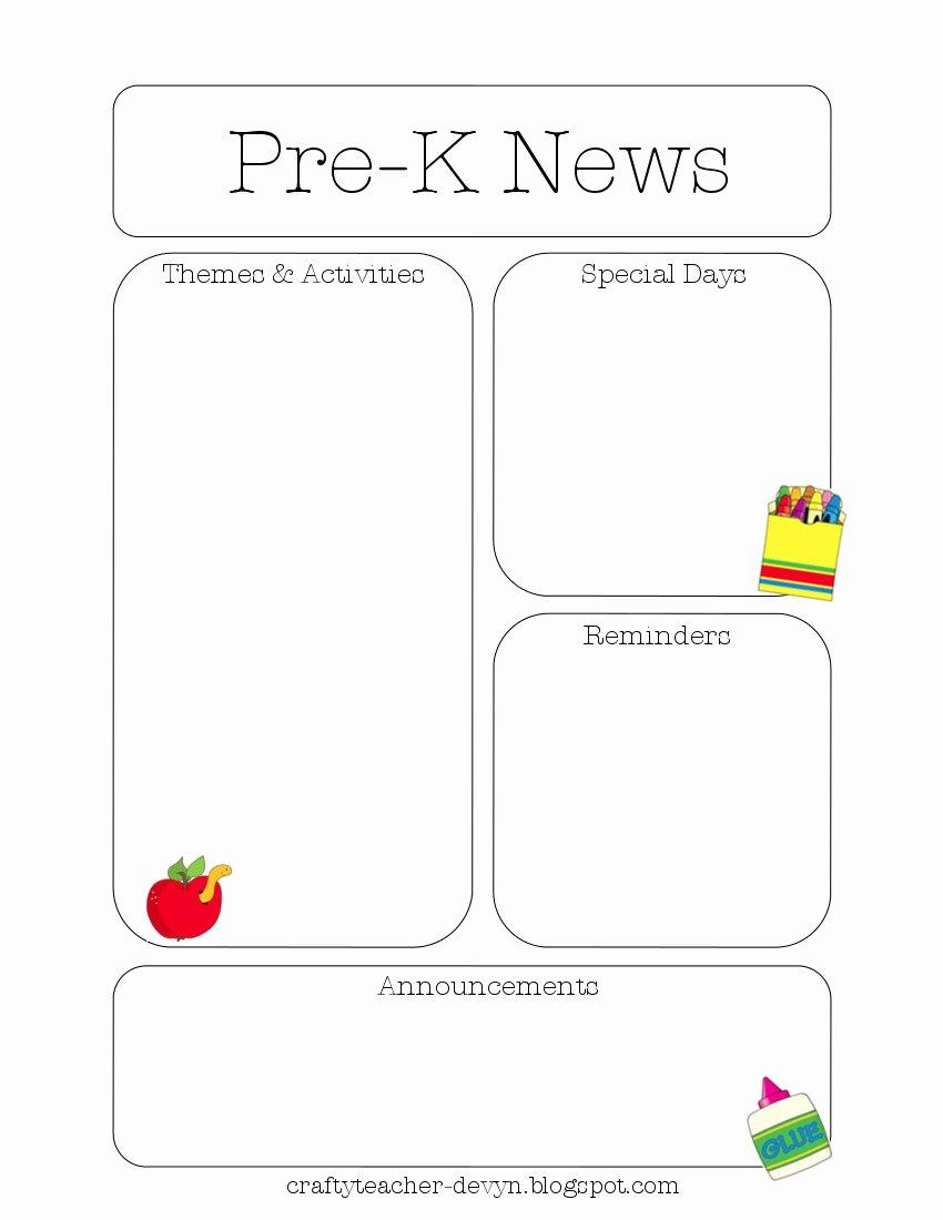 Preschool Newsletter Templates Free Elegant Newsletter Templates