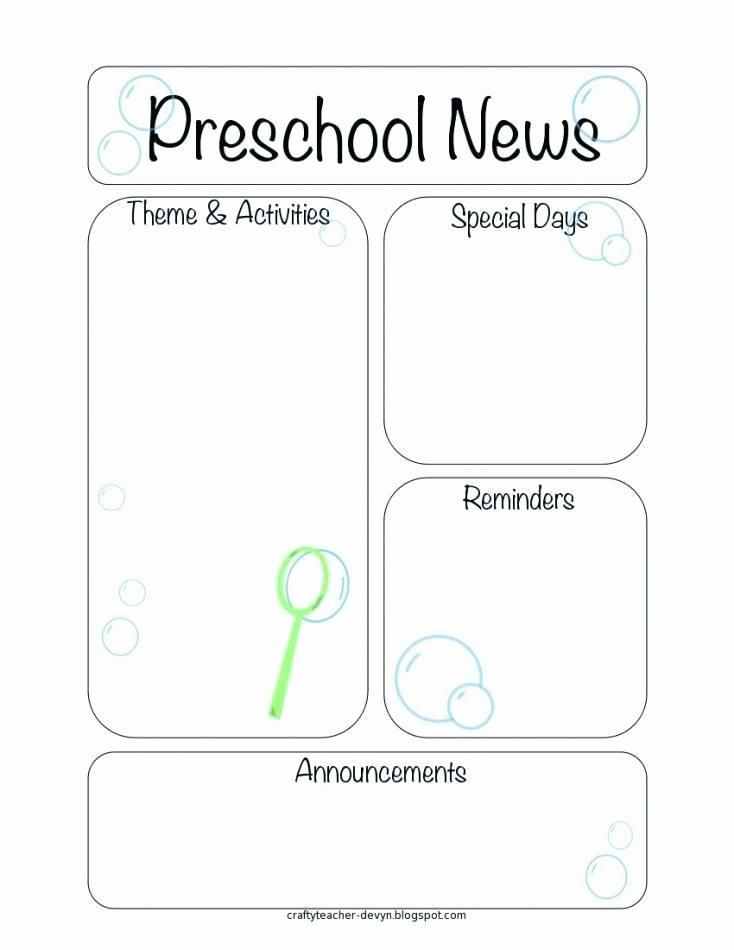 Preschool Newsletter Templates Free Elegant Preschool Newsletter Template