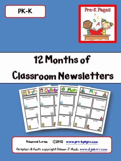 Preschool Newsletter Templates Free Elegant Printable Classroom Newsletters Preschool Kindergarten
