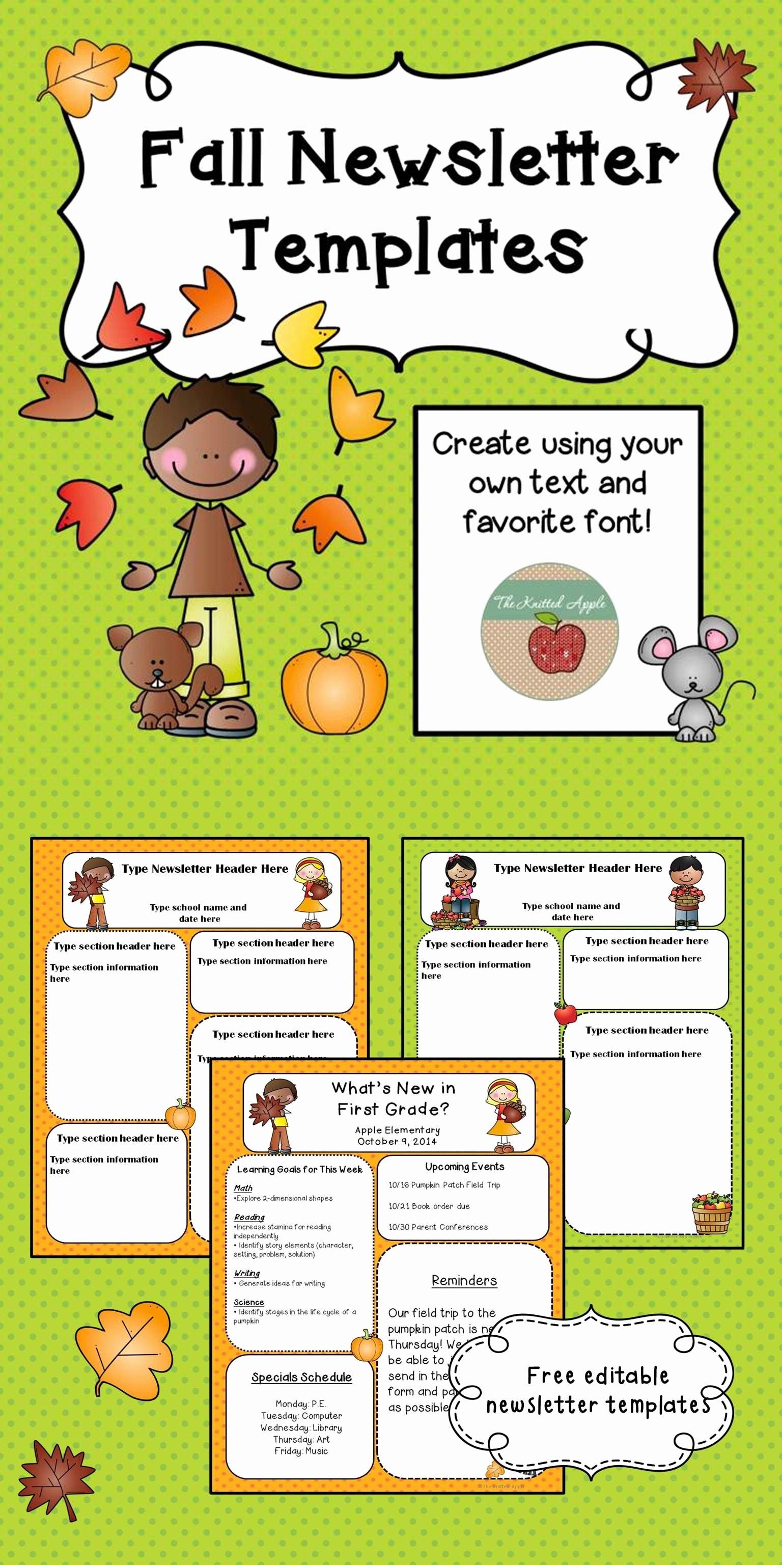Preschool Newsletter Templates Free Fresh Fall Newsletter Templates Freebie Pre K