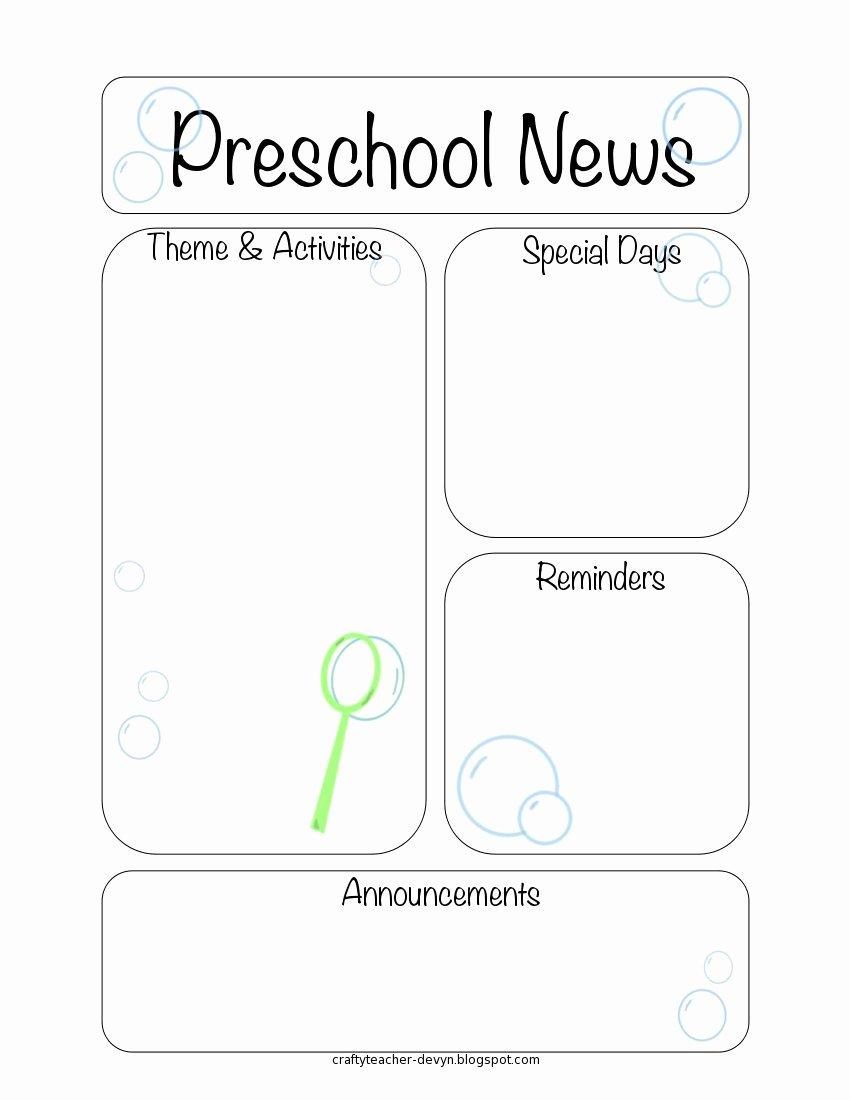 Preschool Newsletter Templates Free Fresh Newsletter Templates