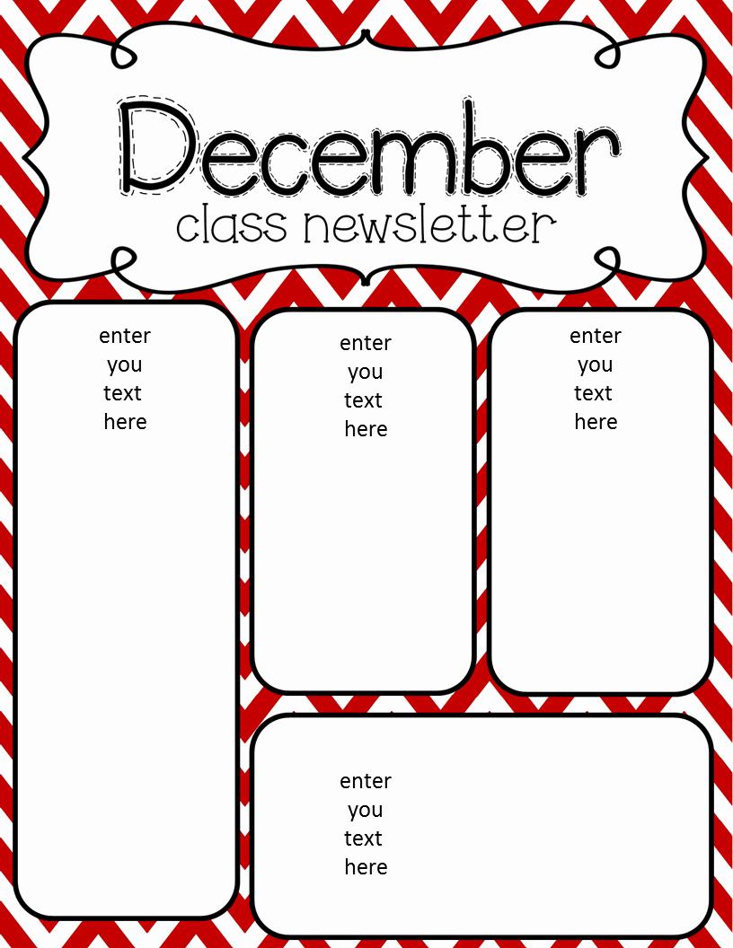 Preschool Newsletter Templates Free Fresh Simply Delightful In 2nd Grade December Newsletter Freebie