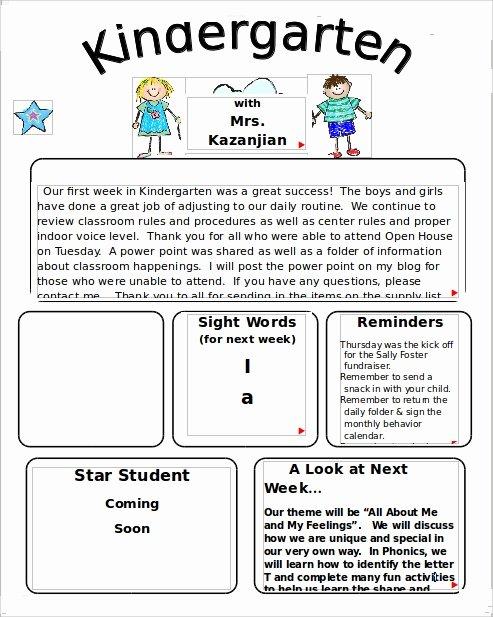 Preschool Newsletter Templates Free Lovely 10 Sample Kindergarten Newsletter Templates