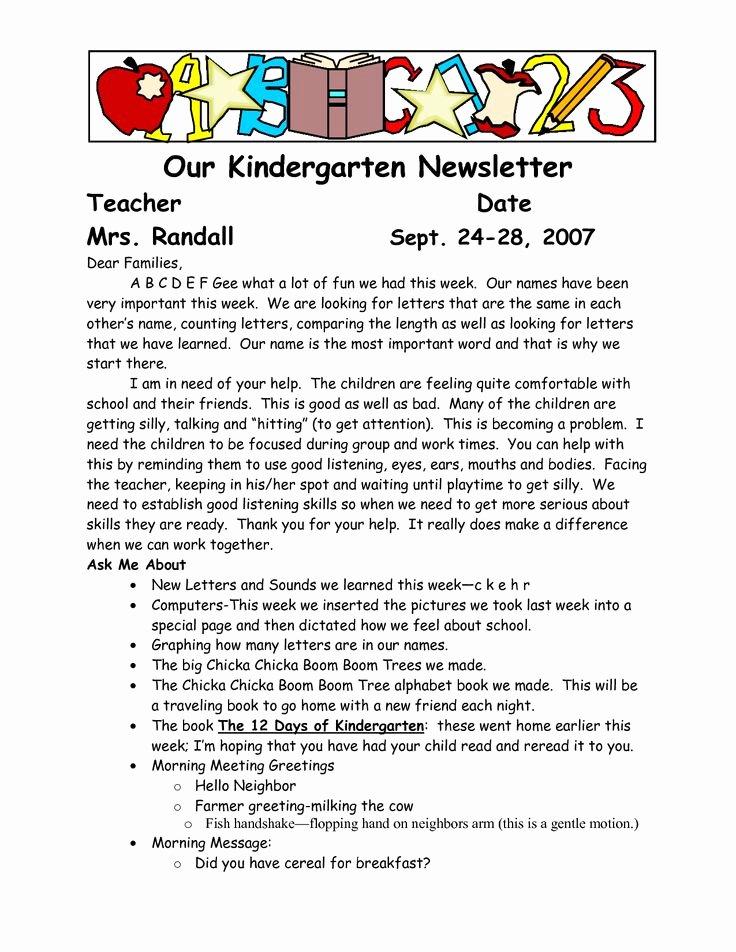 Preschool Newsletter Templates Free Lovely Best 25 Parent Newsletter Template Ideas On Pinterest