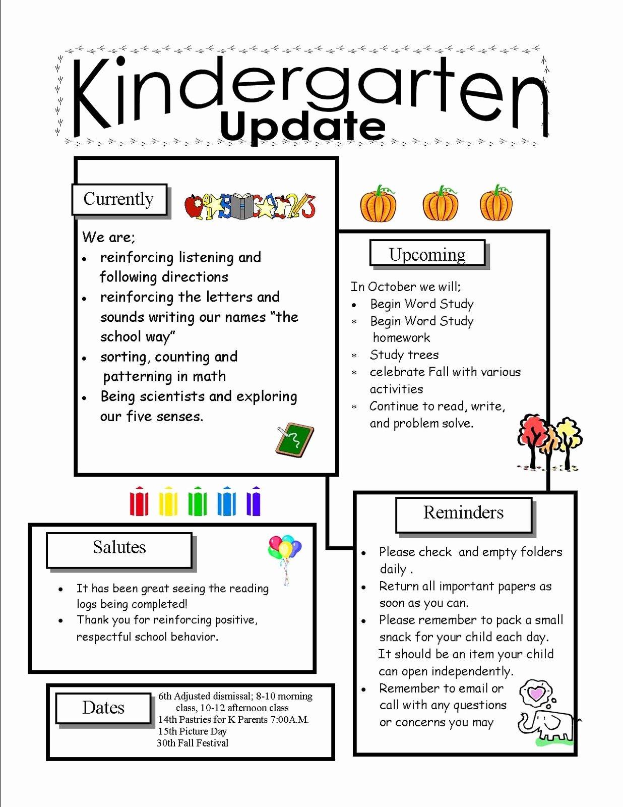 Preschool Newsletter Templates Free Lovely Kindergarten Newsletter Templates for Free