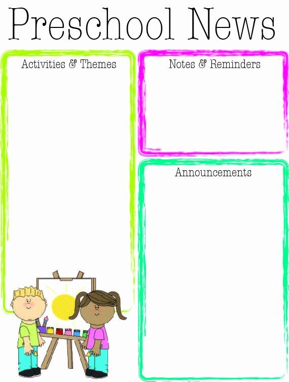 Preschool Newsletter Templates Free Lovely Preschool Bright Color Newsletter
