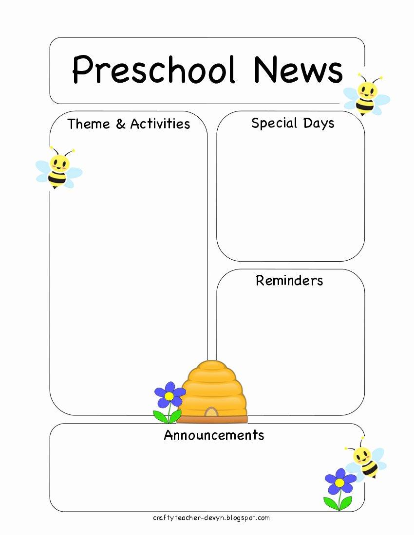 Preschool Newsletter Templates Free Luxury Preschool Bee Newsletter Template