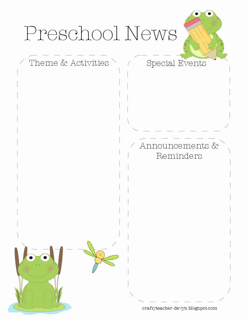 Preschool Newsletter Templates Free New Frog Preschool Newsletter Template