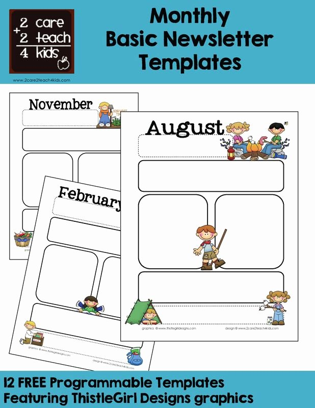 Preschool Newsletter Templates Free New Monthly Templates Calendars Pinterest