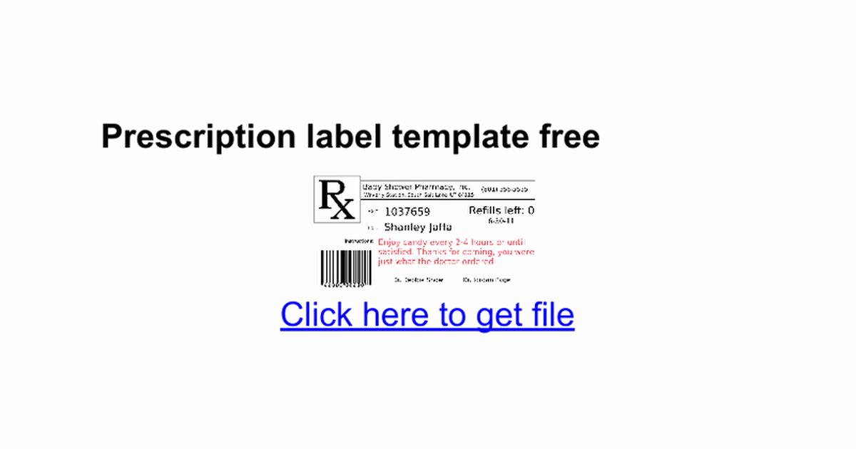 Prescription Bottle Label Template Awesome Prescription Label Template Free Google Docs