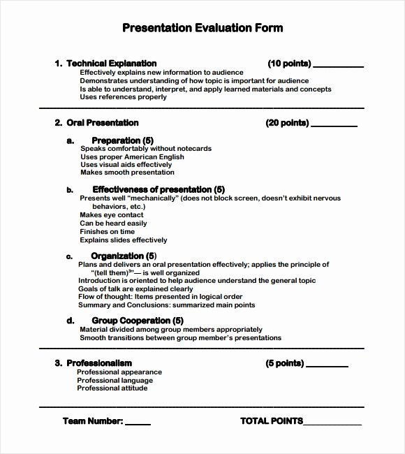 Presentation Feedback form Template Inspirational 8 Sample Presentation Evaluations