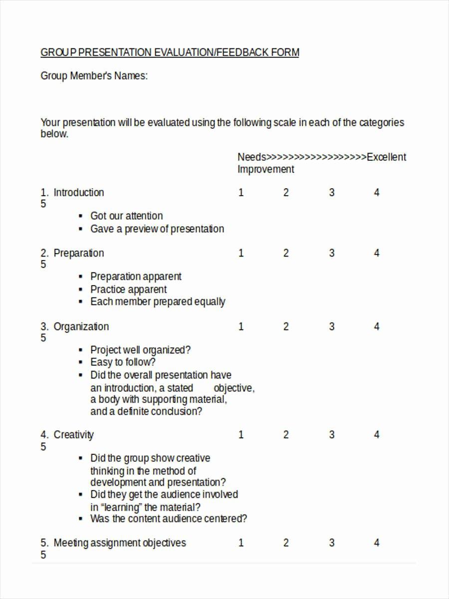 Presentation Feedback form Template Lovely 16 Peer Evaluation form Templates