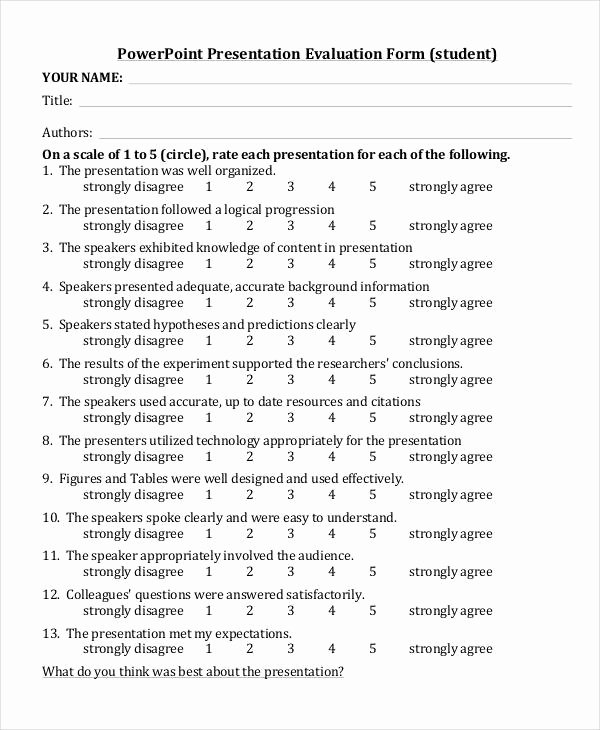 Presentation Feedback form Template Lovely Student Evaluation form Template