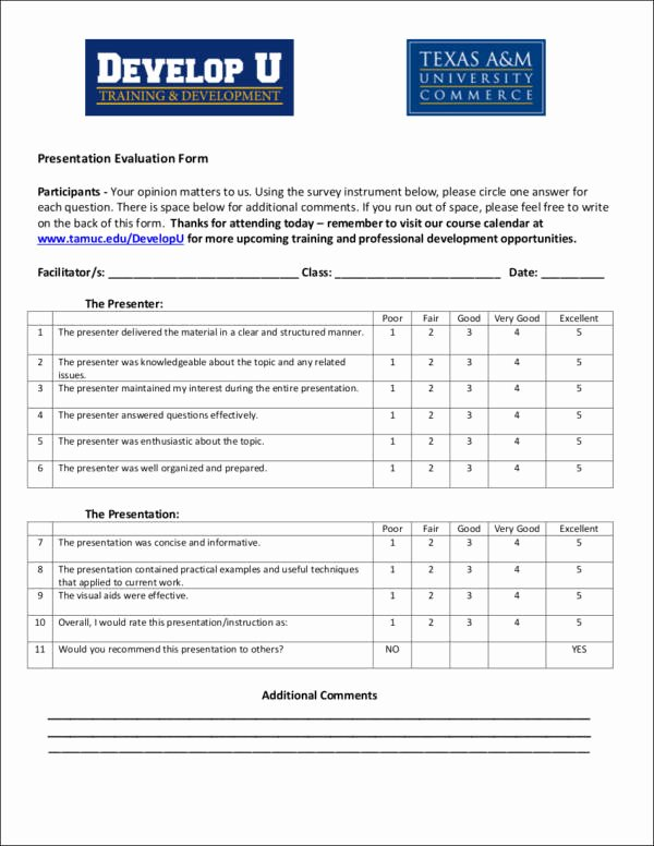 Presentation Feedback form Templates Best Of What is Evaluation