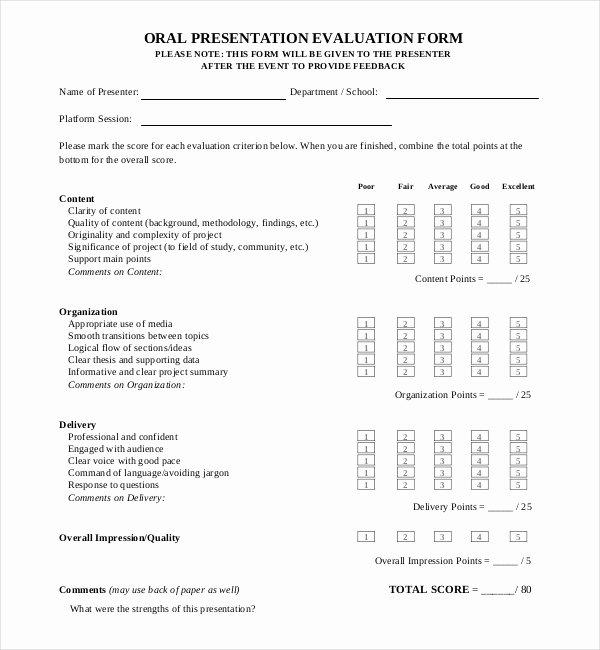 Presentation Feedback form Templates Luxury 13 Sample Presentation Evaluation forms