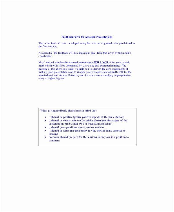 Presentation Feedback form Templates Luxury Sample Presentation Feedback form 10 Examples In Word Pdf