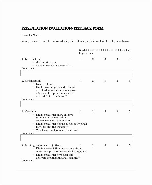 Presentation Feedback forms Awesome 10 Sample Presentation Feedback forms