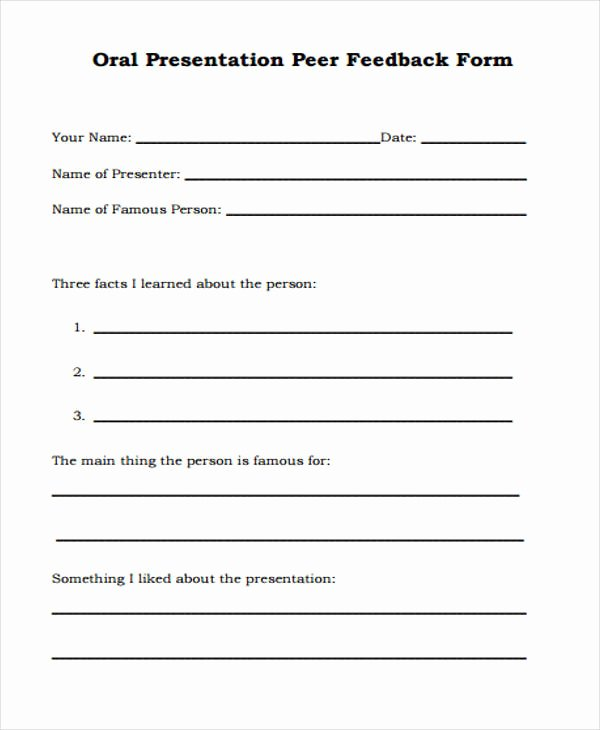 Presentation Feedback forms Lovely 17 Presentation Feedback form Templates