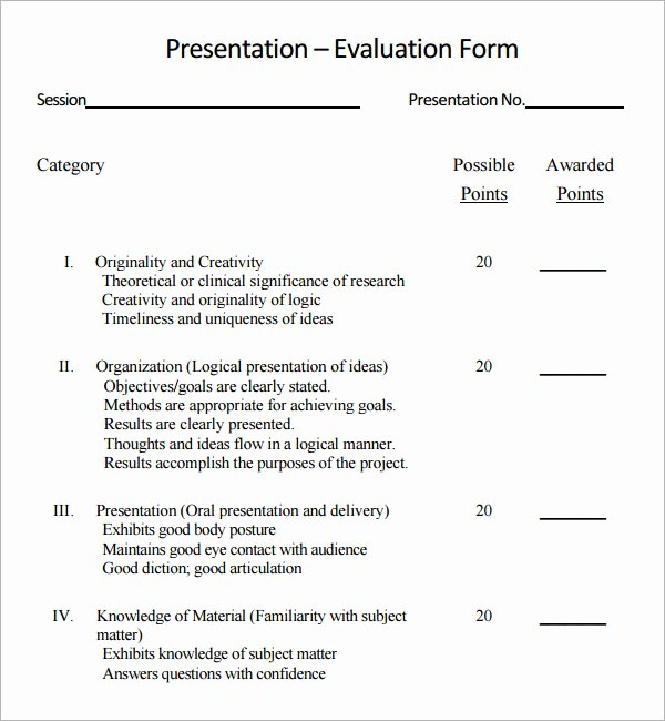 Presentation Feedback forms Lovely 7 Sample Presentation Evaluations Pdf