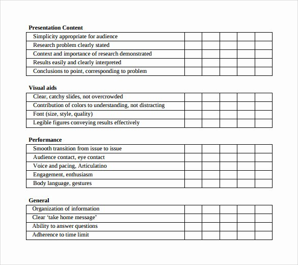 Presentation Feedback forms Luxury Presentation Evaluation forms – 8 Free Samples Examples