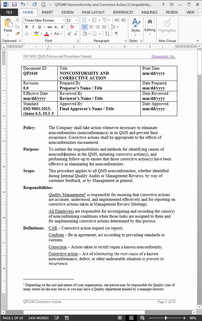 Preventive Action form New Nonconformity Corrective Action Procedure iso 9901 2015