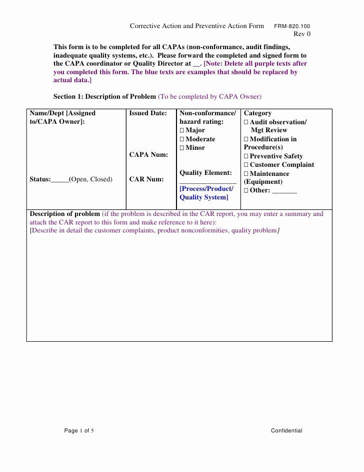 Preventive Action form Unique Frm 820 Capa Corrective Preventive Action Med Dev form