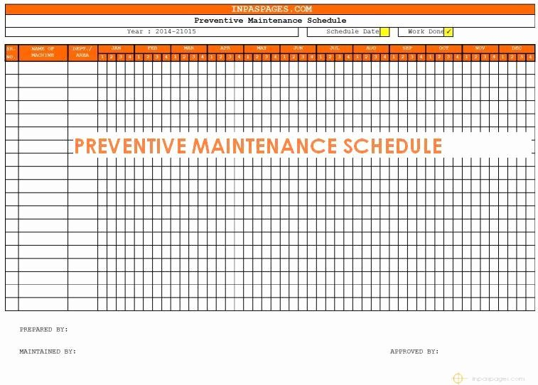 Preventive Maintenance Excel Template Awesome Preventive Maintenance Schedule Template Excel