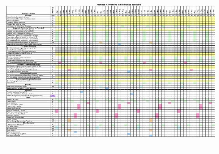 Preventive Maintenance Excel Template Fresh Download Planned Preventive Maintenance Schedule Template