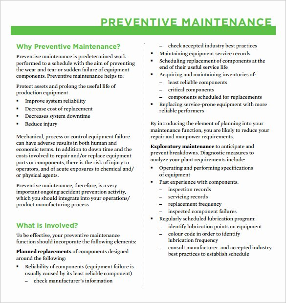 Preventive Maintenance Schedule format Pdf Best Of 37 Preventive Maintenance Schedule Templates Word