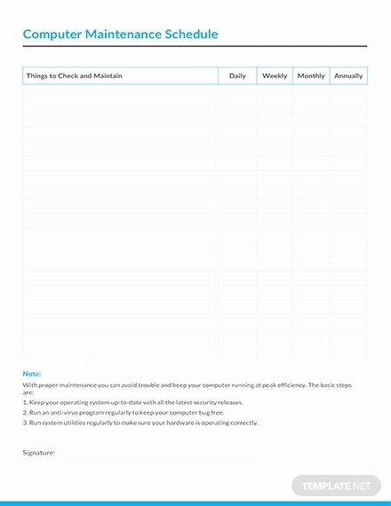 Preventive Maintenance Schedule format Pdf Inspirational Electrical Preventive Maintenance Schedule Template