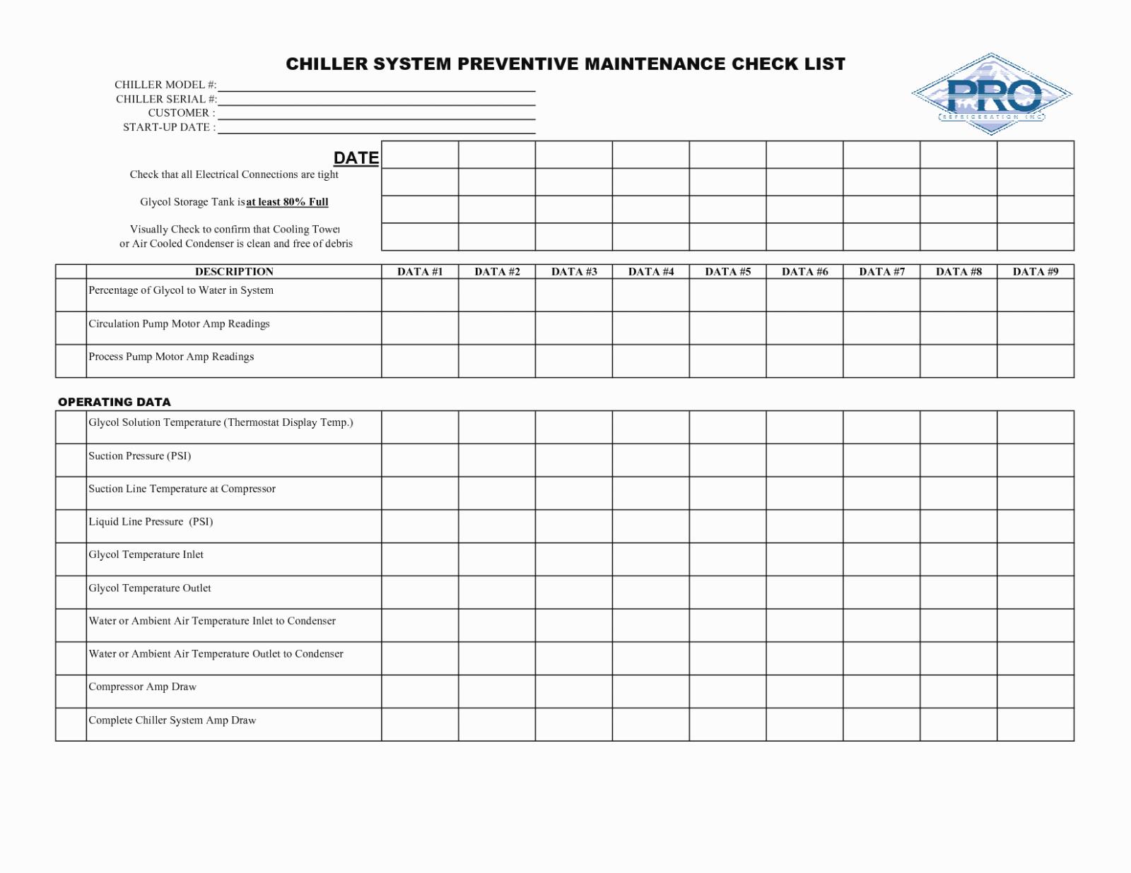 Preventive Maintenance Schedule format Pdf Luxury Room Temperature Log Sheet Template Erieairfair