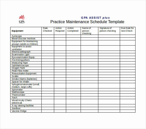 Preventive Maintenance Schedule format Pdf New Plant Maintenance Schedule Template Excel