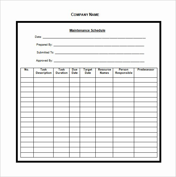 Preventive Maintenance Schedule Pdf Best Of Vehicle Maintenance Schedule Templates 10 Free Word