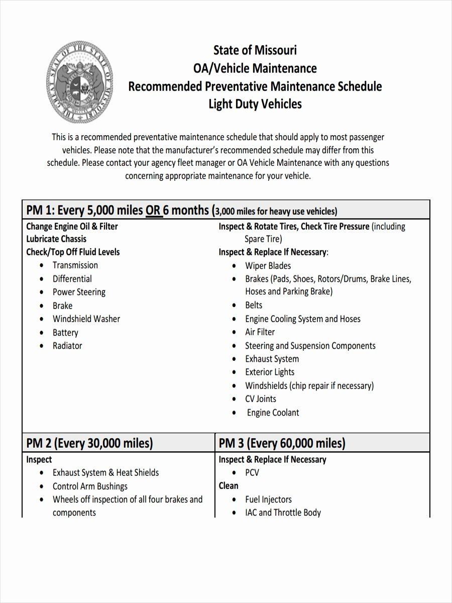 Preventive Maintenance Schedule Pdf Elegant 9 Preventive Maintenance Schedule Examples Samples