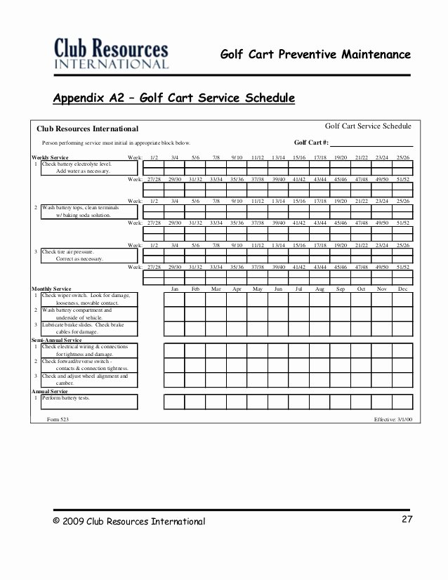 Preventive Maintenance Schedule Pdf Elegant Golf Cart Preventive Maintenance