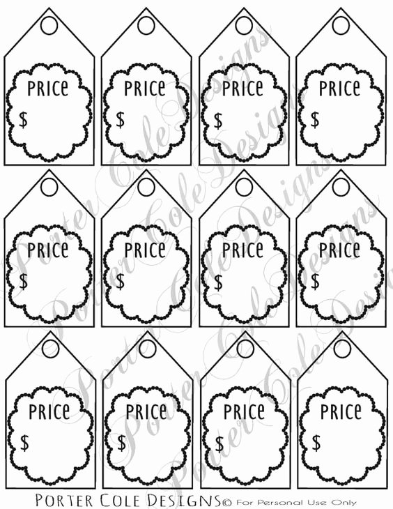 Price Tag Template Printable Elegant Price Tags Printable Digital File by Portercoledesigns On