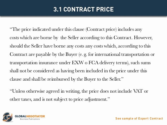Pricing Agreement Letter Best Of Export Contract Contract Template and Sample