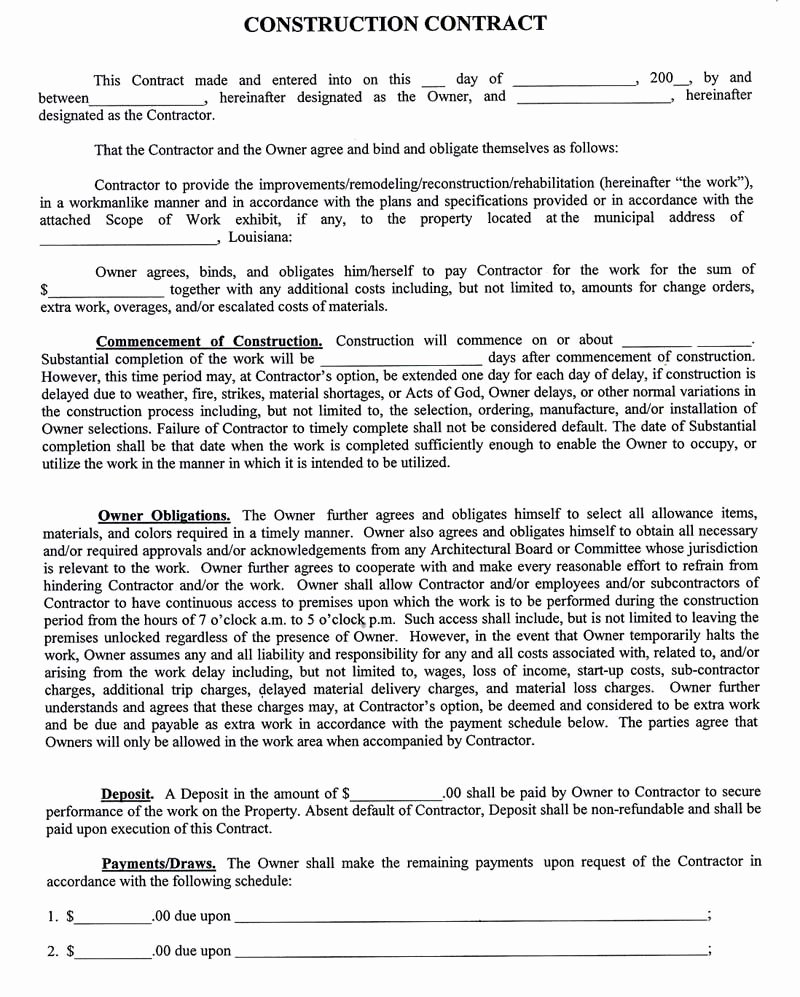 Pricing Agreement Letter Fresh Construction Pany Contract Template