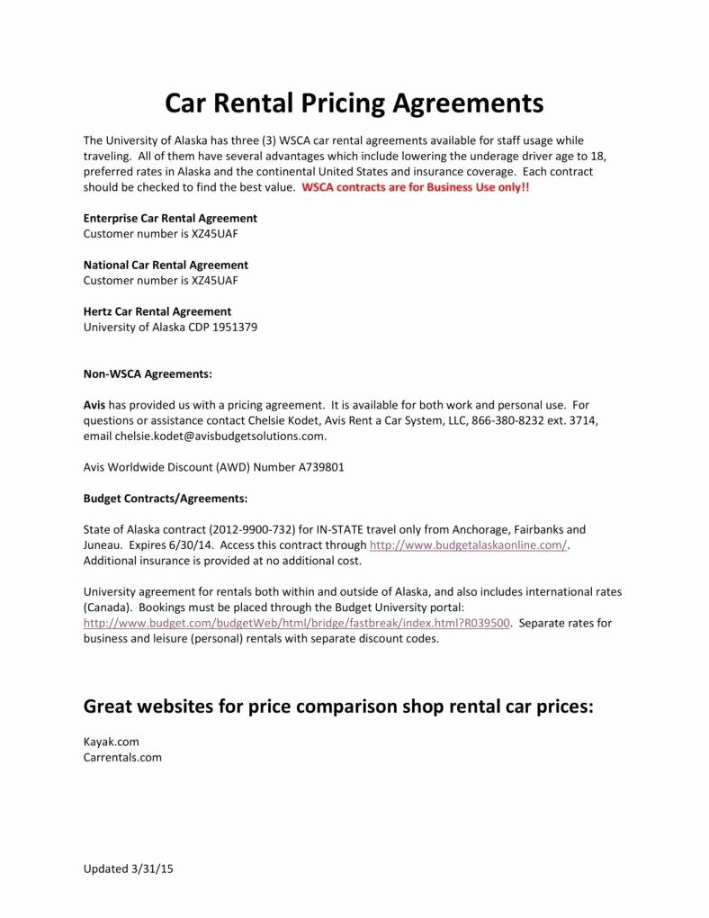 Pricing Agreement Letter Unique 6 Personal Car Rental Agreement Templates Pdf