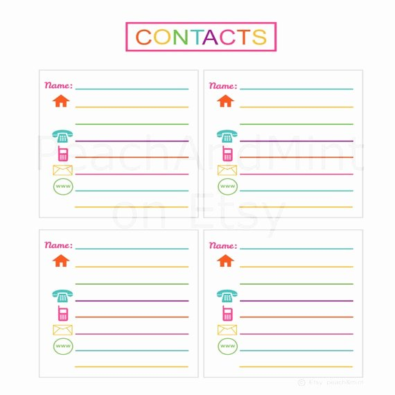 Printable Address Book Template Elegant Items Similar to Printable Contacts List Printable