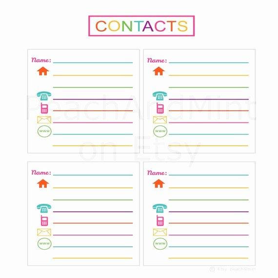 Printable Address Book Template Elegant Items Similar to Printable Contacts List Printable