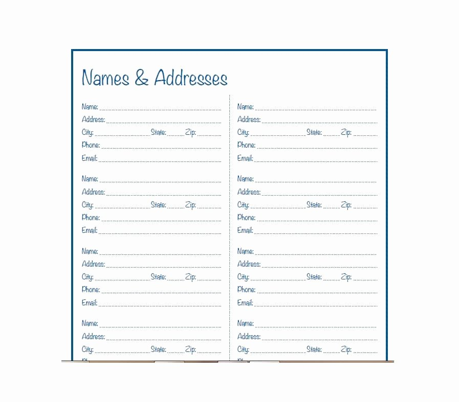 Printable Address Book Template Inspirational 40 Printable & Editable Address Book Templates [ Free]