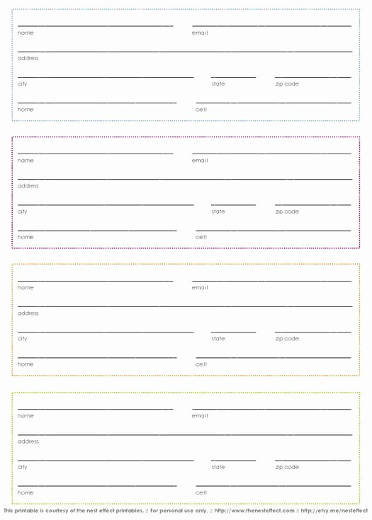 Printable Address Book Template Lovely 30 Best Images About Printable forms On Pinterest